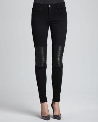 J Brand Jeans Nicola Hewson Leather-Panel Skinny Jeans