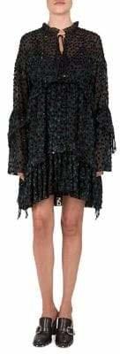 The Kooples Velvet Polka Dot A-Line Dress