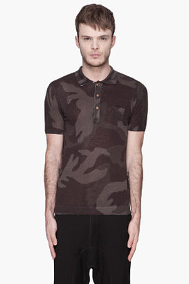 Diesel Green and black camo knit K-Canoa polo