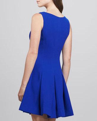Milly Pleat-Skirt Wool Dress, Cobalt