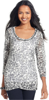 Style&Co. Top, Three-Quarter-Sleeve Printed Burnout