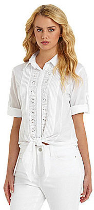 ECI Tie-Front Blouse With Roll-Tab Sleeves