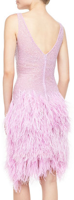 Naeem Khan Sleeveless Beaded Cocktail Dress with Feathers