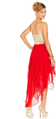 B. Darlin Juniors Dress, Strapless Sequin Tiered High-Low