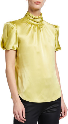 Cinq à Sept Justine Solid Puff-Sleeve Silk Blouse