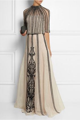 Temperley London Crivelli embellished embroidered silk-organza maxi skirt