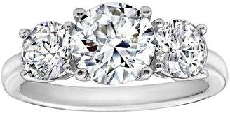 Diamonique 3.50 cttw 3 Stone Ring, Platinum Clad
