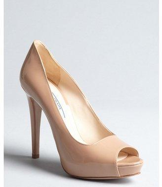 Prada nude patent leather peep toe platform pumps