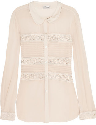 Temperley London Lace-trimmed silk blouse