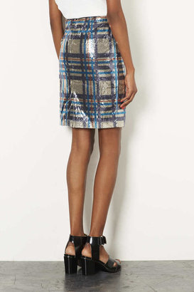 Topshop Sequin Check Pencil Skirt