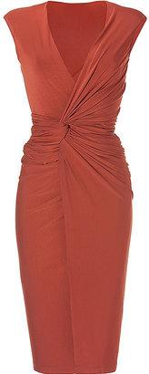 Donna Karan Burnt Orange V-Neck Draped Jersey Dress