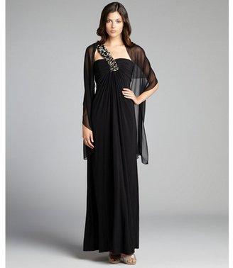 Mignon black crystal embellished one shoulder jersey knit gown