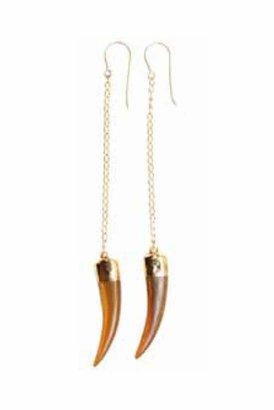 Heather Gardner Long Chain Petite Boho Tusk Earrings in Tortoise