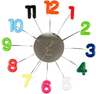 Karlsson Wall Clock Spider Numbers Colours Plastic w. Steel