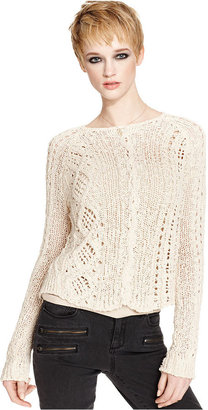 Rachel Roy Sweater, Long-Sleeve Crew-Neck Cable-Knit