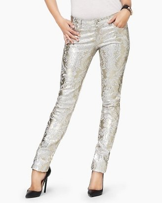 Juicy Couture Gold Foil Brocade Skinny Jean