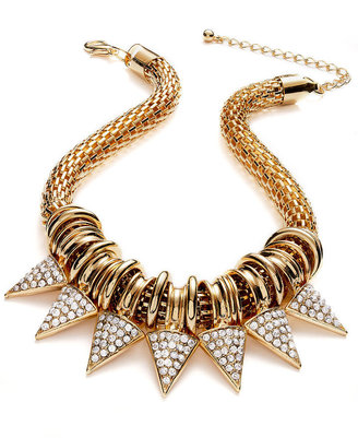 Bar III Necklace, Gold-Tone Glass Spiked Statement Necklace