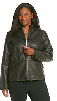 Gallery Plus Size Faux Leather Scuba Jacket With Quilting
