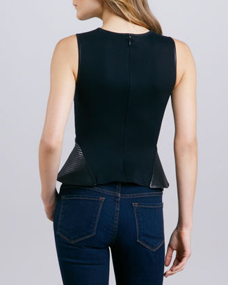 Theory Elleria Leather Peplum Top, Black