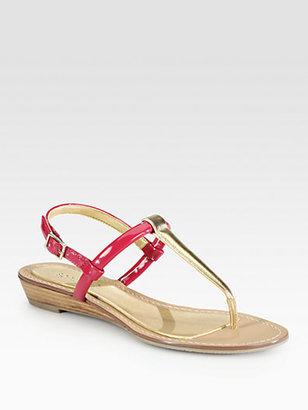Boutique 9 Pandi Patent & Metallic Leather T-Strap Sandals