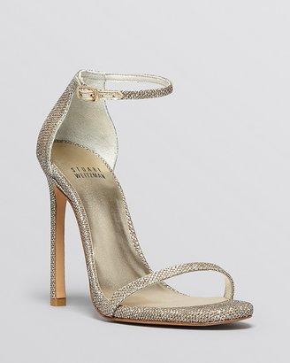 Stuart Weitzman Nudist High Heel Metallic Ankle Strap Sandals $398 thestylecure.com