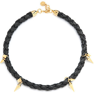 Caroline Baggi Elena Braided Leather and Gold-Plated Spike Necklace