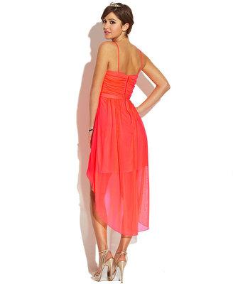 City Studio Juniors Spaghetti-Strap Sequin High-Low Dress