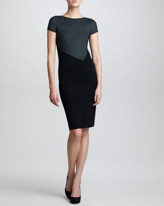 Armani Collezioni Short-Sleeve Knit Dress, Black/White