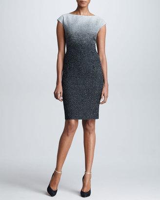 Escada Snowy Tweed Cap-Sleeve Dress, Gray/Black