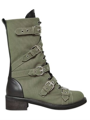 Giuseppe Zanotti 40mm Canvas Leather Belted Combat Boots