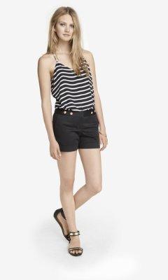 Express 4 1/2 Inch Cotton Sateen Tab Waist Shorts