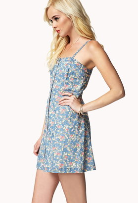 Forever 21 floral denim dress