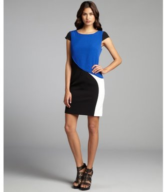 Hayden cobalt and black seamed colorblock cap sleeve dress