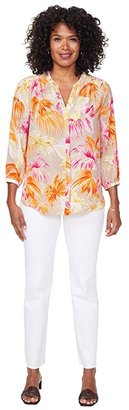 NYDJ Blouse w/ Pleated Back (Miami Geo) Women's Blouse