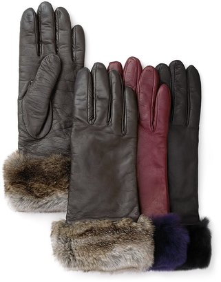 Bloomingdale's Leather Gloves with Rabbit Fur Cuffs