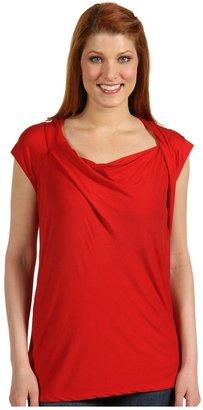 DKNY DKNYC - Cap Sleeve Drape Front Top (Cherry) - Apparel