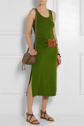 Michael Kors Leather-trimmed stretch-crepe midi dress