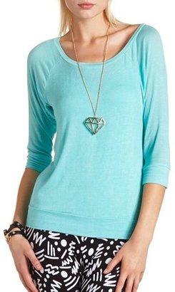 Charlotte Russe Hi-Low Raglan Knit Top
