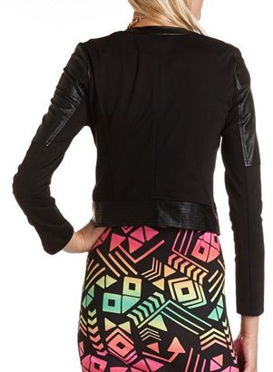 Charlotte Russe Mixed Media Motorcycle Blazer