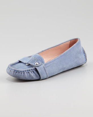 Taryn Rose Caress Patterned Suede Driving Loafer, Dusty Blue