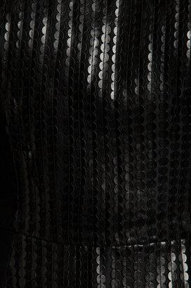 Jay Godfrey Cuda Leather Sequins Peplum Top