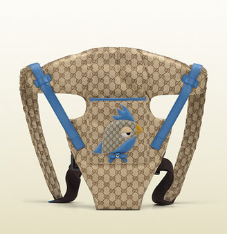 Gucci original GG canvas baby carrier with zoo patch