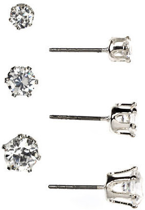 Anne Klein Silver Tone and Cubic Zirconia Stud Earring Set