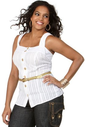 Baby Phat Plus Size Shirt, Sleeveless Belted