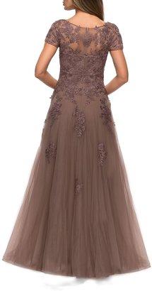 La Femme Floral Lace Applique Tulle A-Line Gown