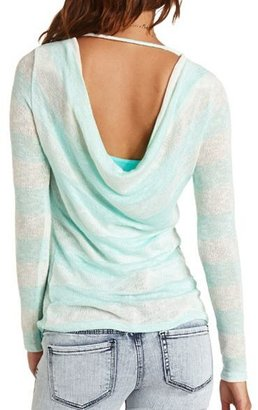 Charlotte Russe Draped Back Hi-Low Striped Tunic