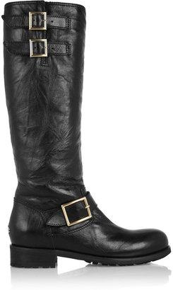 Jimmy Choo Yule leather biker knee boots