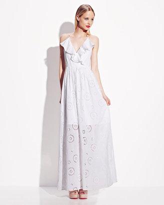 Betsey Johnson Eyelet Halter Maxi Dress