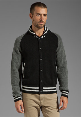 Shades of Grey by Micah Cohen Baseball Sweater Cardigan in Grey/Black