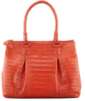 Nancy Gonzalez Crocodile Large Pleated Tote Bag, Orange